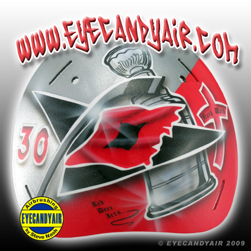 2009 Cam Ward Sportmask Airbrush Painted Goalie Helmet backplate by EYECANDYAIR mask artist