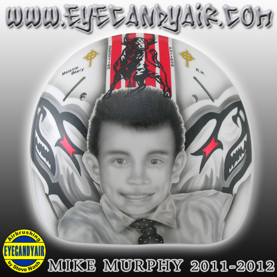 Mike Murphy Charlotte Checkers fan tribute goalie mask custom airbrushed portait of BUG by Steve Nash EYECANDYAIR on a Sportmask