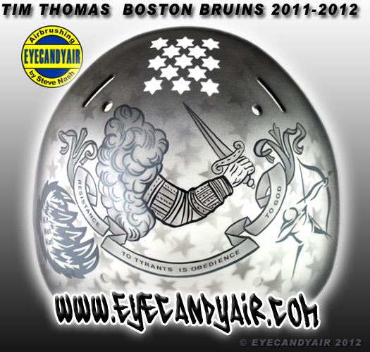 Tim Thomas revolutionary war flag resistance to tyrants Goalie Mask Backplate Painted by Mask Artist Steve Nash EYECANDYAIR on a Sportmask 2011