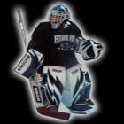 Airbrushing goalie mask painted by EYECANDYAIR