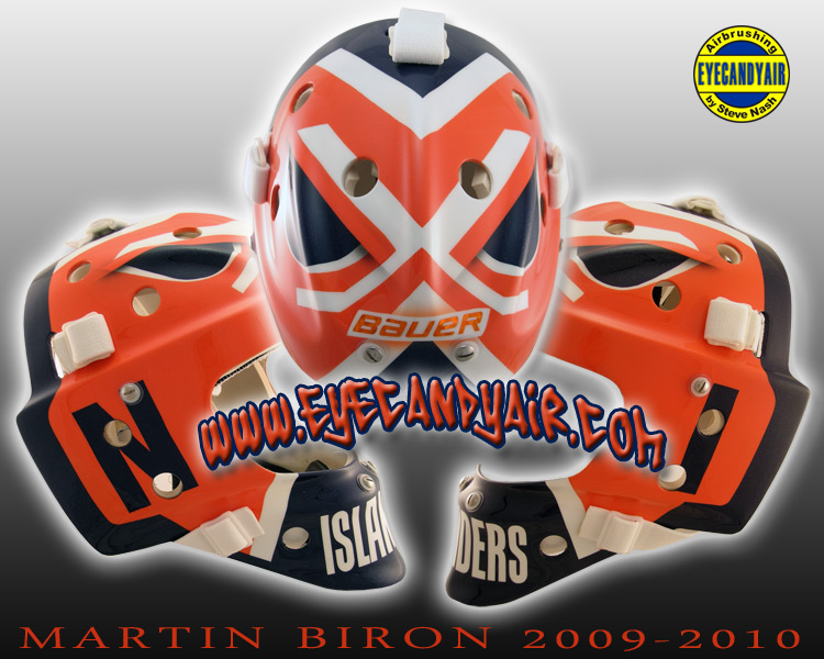 Martin Biron 2009-2010 Islanders Custom Airbrushed Billy Smith Tribute Bauer Goalie Mask Painted by Steve Nash EYECANDYAIR
