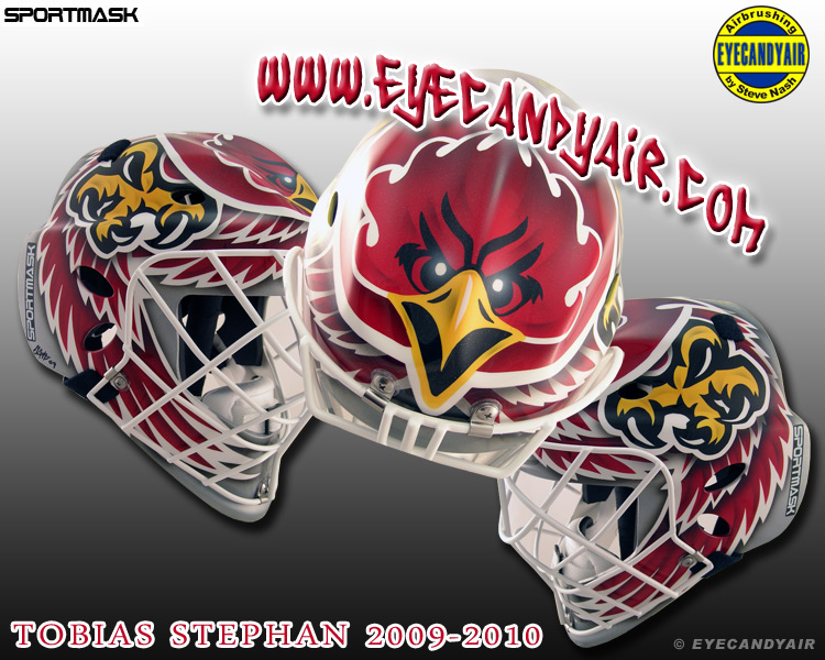 Tobias Stephan Geneve-Servette 2009-2010 Sportmask Mage RS Airbrushed Painted by EYECANDYAIR, Toronto Canada