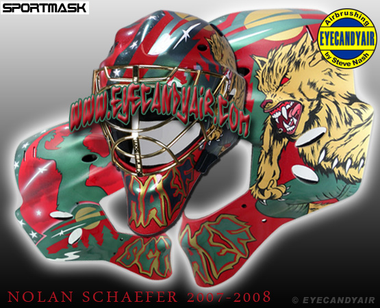 Nolan Schaefer Houston Aeros Werewolf 2007 airbrush painted goalie mask EYECANDYAIR