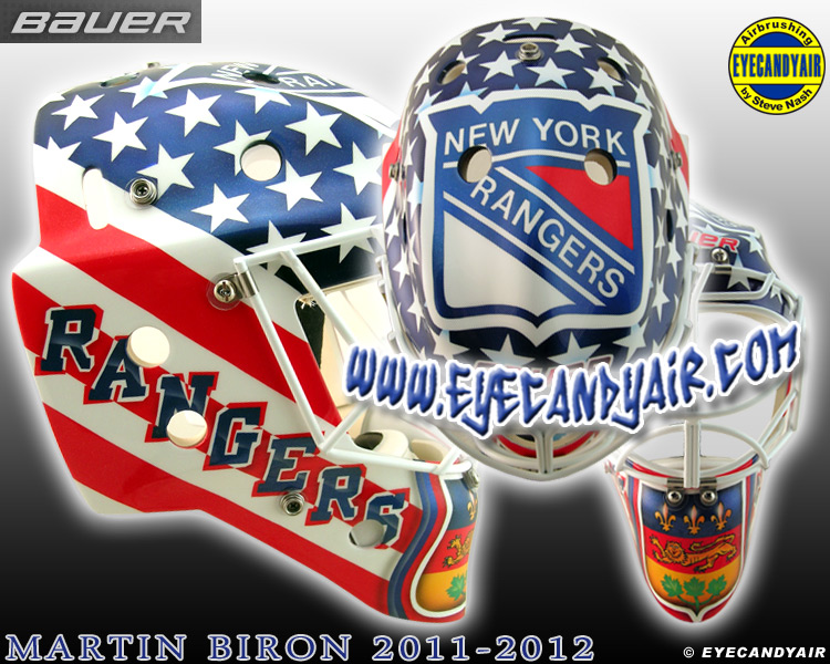 Martin Biron goalie mask 2011 Custom Painted New York Rangers goalie mask by Steve Nash of EYECANDYAIR