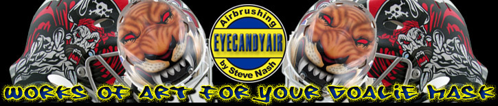 EYECANDYAIR Goalie Mask and Helmet Airbrush Painting Official Banner